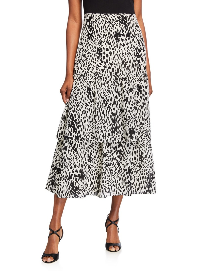 Lafayette 148 Zia Cheetah Print Tiered Silk Skirt