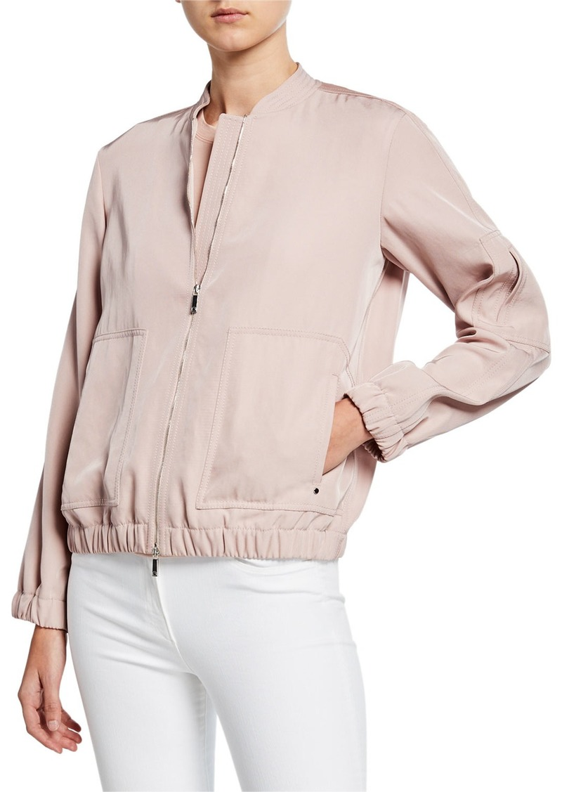 Lafayette 148 Ziggy Canary Cloth Bomber Jacket