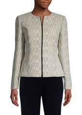 Lafayette 148 Zip-Front Cotton-Blend Jacket