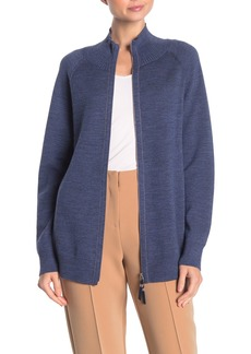 Lafayette 148 Zip Front Plaited Wool Blend Cardigan