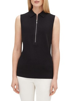 Lafayette 148 Zip-Front Sleeveless Fitted Polo Sweater