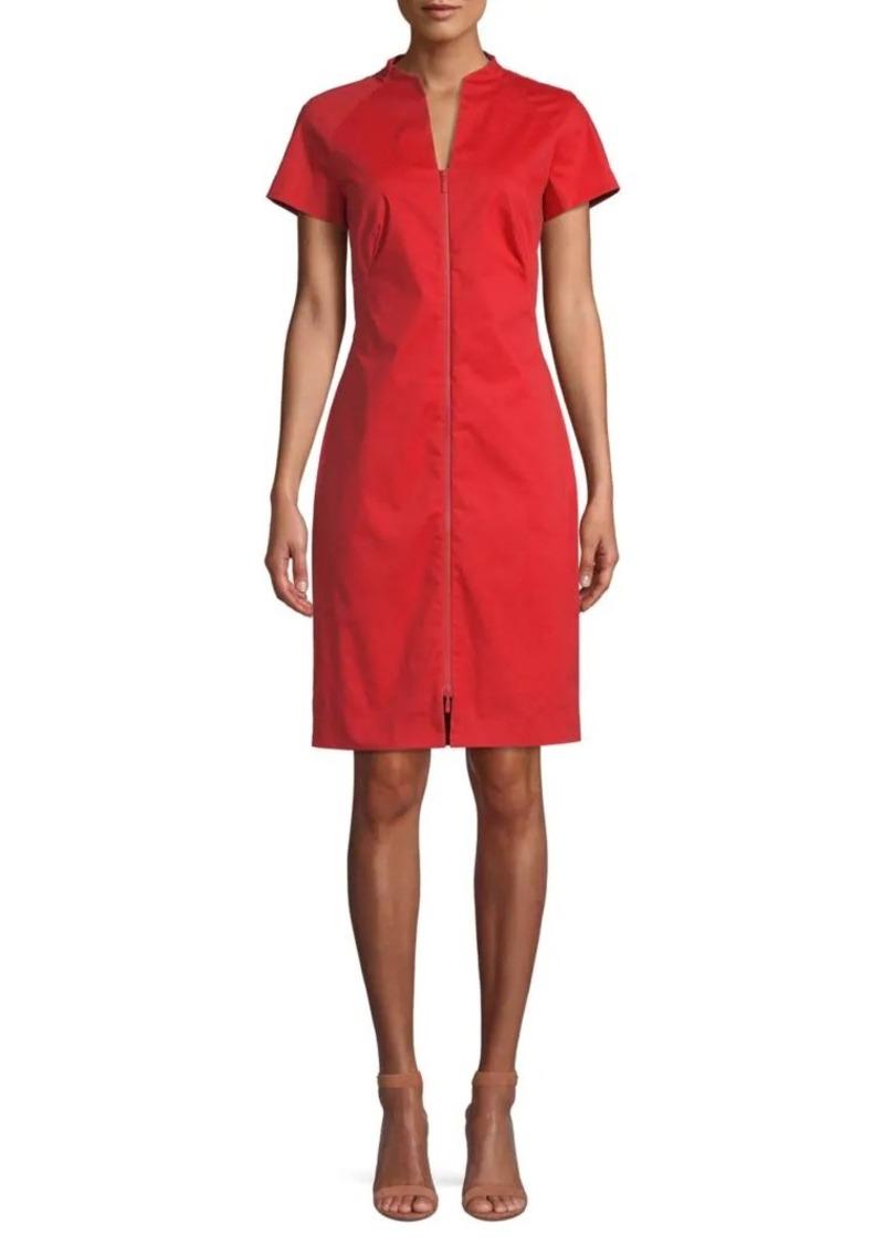 Lafayette 148 Zip-Up Stretch Knee-Length Dress