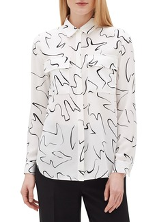 Lafayette 148 Zora Scribble Print Long-Sleeve Silk Blouse