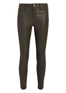 L'Agence Adelaide Army Green Leather Pants