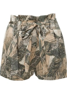 L'Agence Alex Printed Silk-satin Shorts