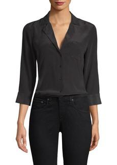 L'Agence Amilna Three-Quarter Sleeve Silk Blouse
