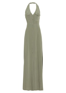 L'Agence Amina Crepe De Chine Halter Dress