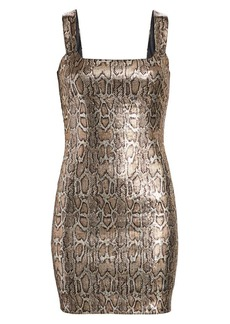 L'Agence Auden Sequin Python Print Mini Dress