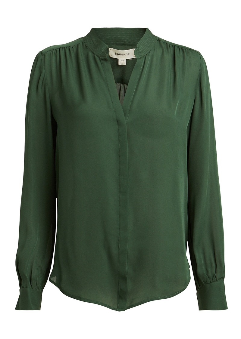 L'Agence Bianca Silk Button Down Blouse
