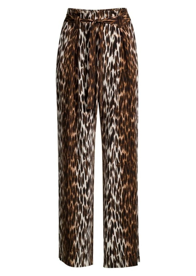 L'Agence Bobby Leopard-Print Silk Trousers
