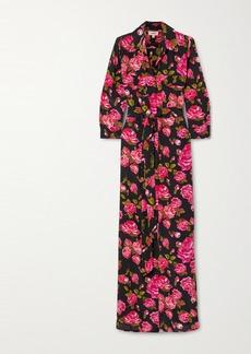 L'Agence Cameron Belted Floral-print Silk Crepe De Chine Maxi Shirt Dress