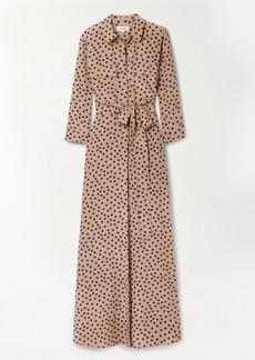 L'Agence Cameron Belted Polka-dot Silk Crepe De Chine Maxi Shirt Dress