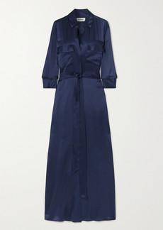 L'Agence Cameron Belted Silk-satin Maxi Dress