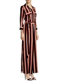 L'Agence Cameron Cabana Stripe Silk Maxi Shirt Dress