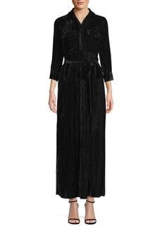 L'Agence Cameron Crinkle Velvet Shirtdress
