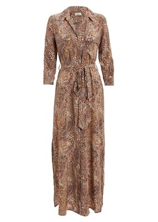 L'Agence Cameron Leopard & Paisley Shirt Dress