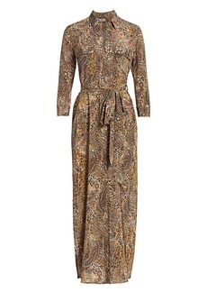 L'Agence Cameron Leopard & Paisley Silk Shirtdress