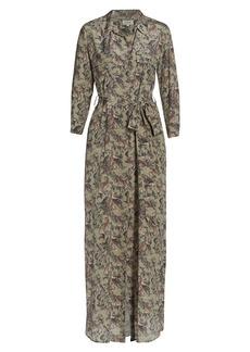 L'Agence Cameron Leopard Long-Sleeve Shirtdress