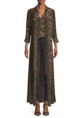 L'Agence Cameron Leopard Print Silk Shirt Dress