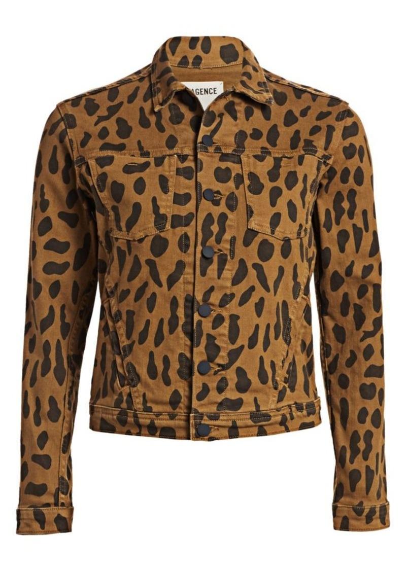 L'Agence Celine Animal-Print Denim Jacket