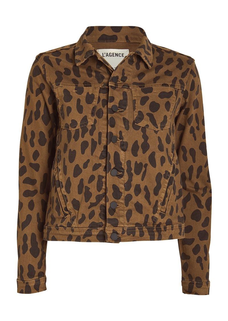 L'Agence Celine Spotted Denim Jacket