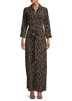 L'Agence Chain-Print Silk Maxi Shirtdress