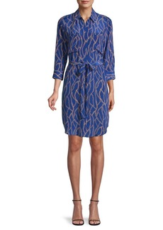 L'Agence Chain-Print Silk Shirtdress