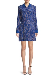 L'Agence Chain-Print Silk Shirtdress
