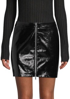L'Agence Claudia Leather Zip Mini Skirt