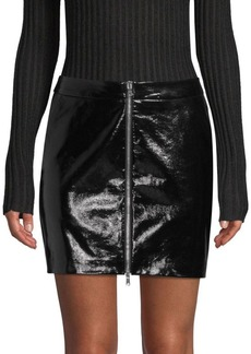 L'Agence Claudia Leather Zip Mini Skirt