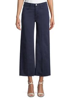 L'Agence Danica Wide-Leg Cropped Raw-Edge Pants