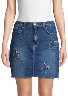 L'Agence Distressed Denim Skirt