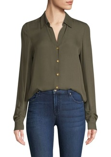 L'Agence Fiona Silk Shirred Sleeve Blouse