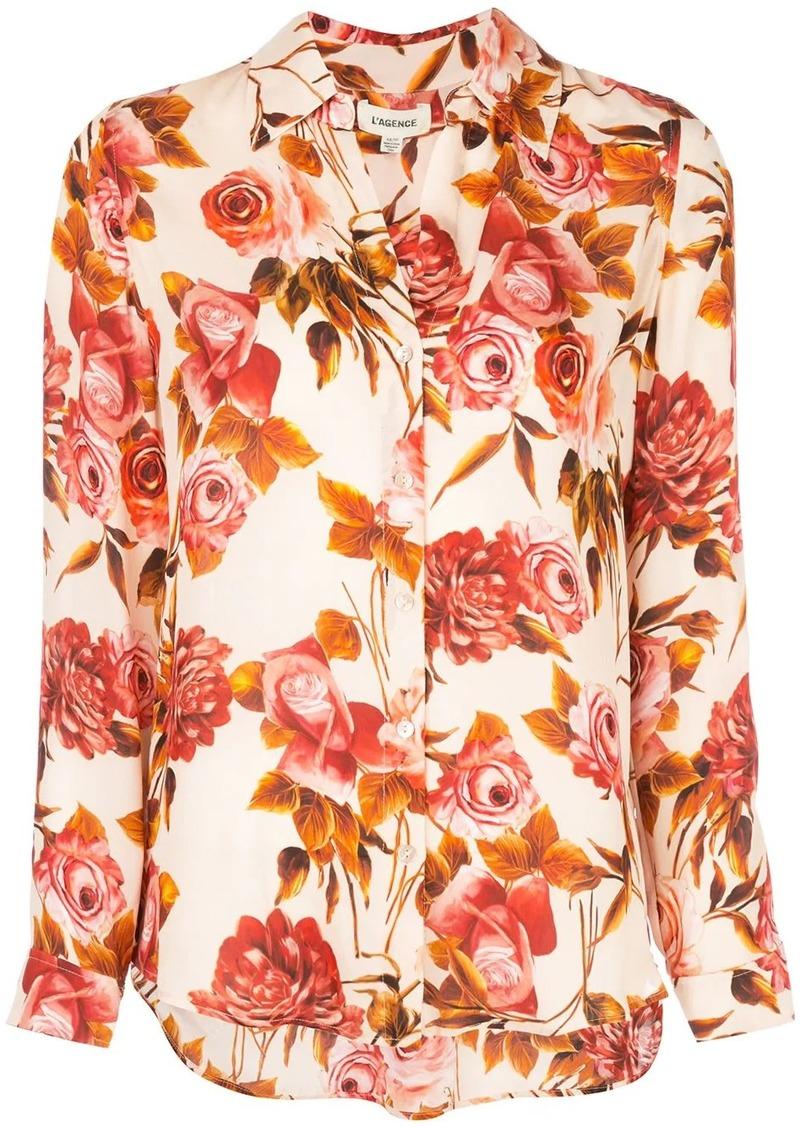 L'Agence floral-print silk shirt