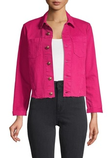 L'Agence Frayed Cropped Jacket