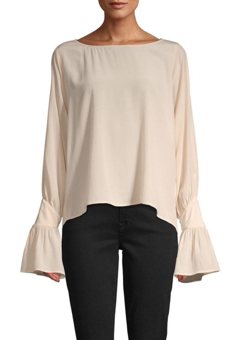 L'Agence Gianne Open Bell Sleeve Silk Blouse