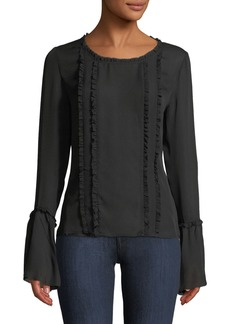L'Agence Gilda Silk Bell-Sleeve Top