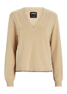 L'Agence Helena V-Neck Cotton Sweatshirt