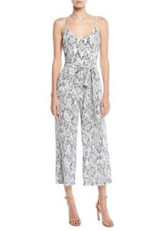 L'Agence Jaelyn V-Neck Camisole Straight-Leg Animal-Print Silk Jumpsuit