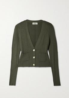 L'Agence Jamie Ribbed-knit Cardigan