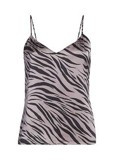 L'Agence Jane Zebra Print Silk Tank