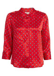 L'Agence Jil Printed Silk Charmeuse Button Down
