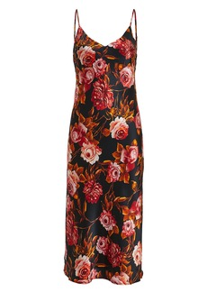 L'Agence Jodie Basalt Floral Silk Dress