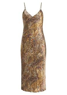 L'Agence Jodie Paisley & Leopard Silk Slip Dress