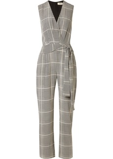 L'Agence Julia Prince Of Wales Checked Silk-crepe Jumpsuit