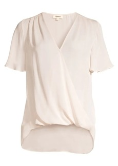 L'Agence Karan Flutter Sleeve Silk Top