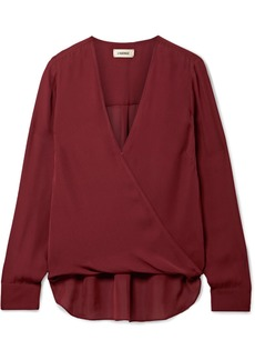 L'Agence Kayla Wrap-effect Silk Crepe De Chine Blouse