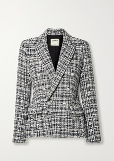 L'Agence Kenzie Double-breasted Metallic Cotton-blend Tweed Blazer