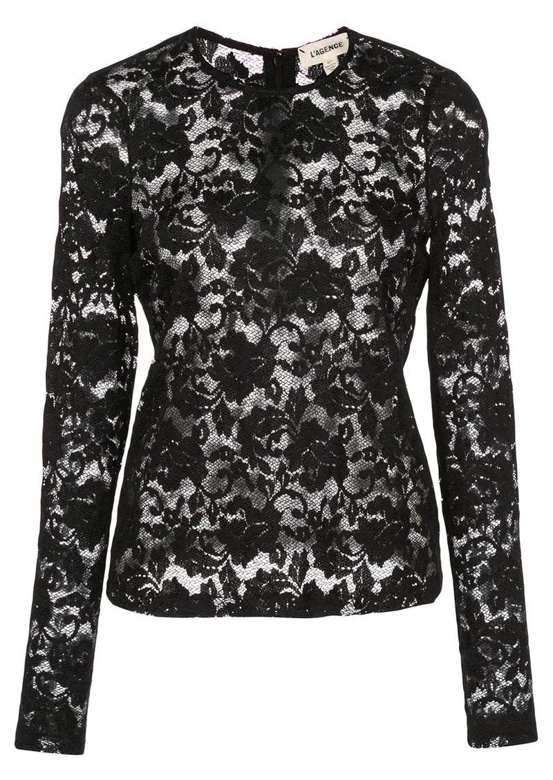 L'Agence lace constructed long sleeve top