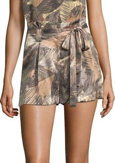 L'Agence Alex Palm Print Silk Shorts